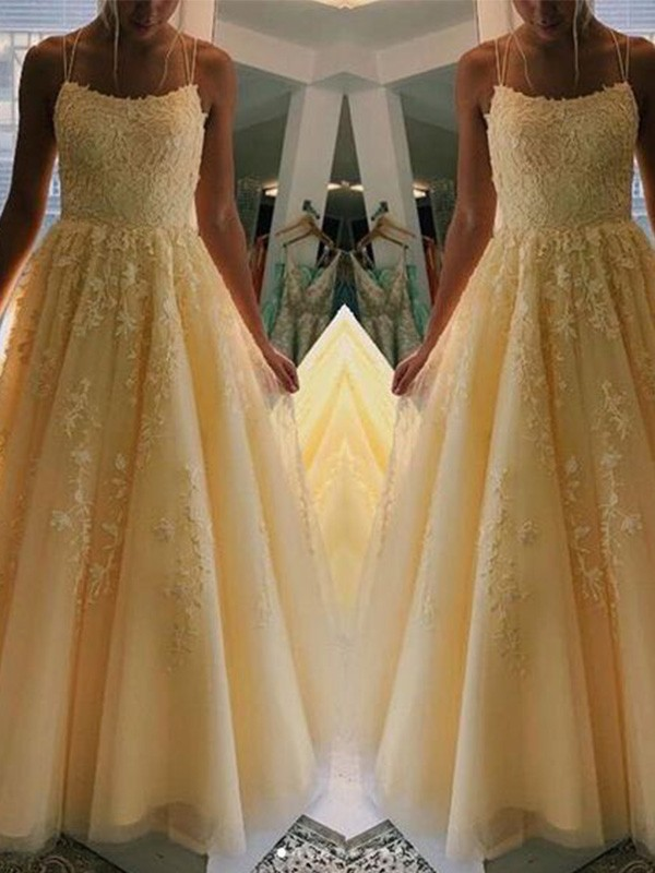 Pretty Looks A-Line Tulle Applique Spaghetti Straps Long Yellow Prom Dresses