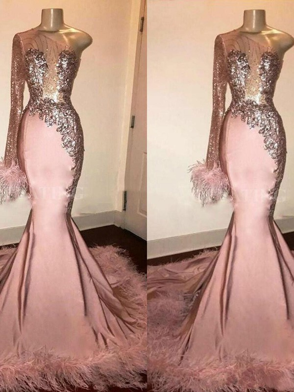 Pretty Looks Trumpet Spandex Feathers/Fur One-Shoulder Long Train Pink Prom Dresses
