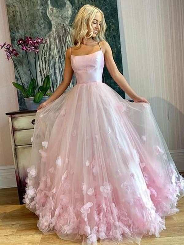 Dancing Queen A-Line Bateau Tulle Applique Long Pearl Pink Prom Dresses