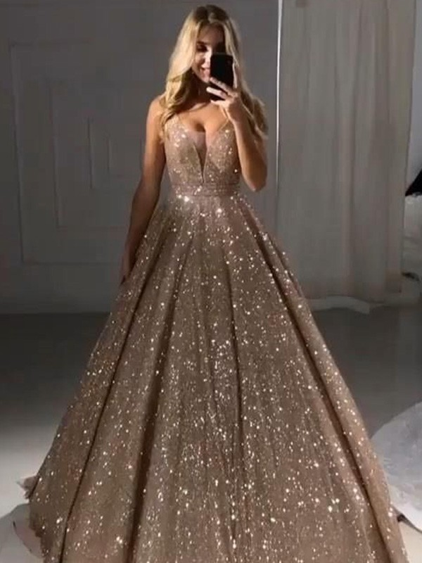 Dancing Queen A-Line V-neck Sequins Ruffles Long Champagne Prom Dresses