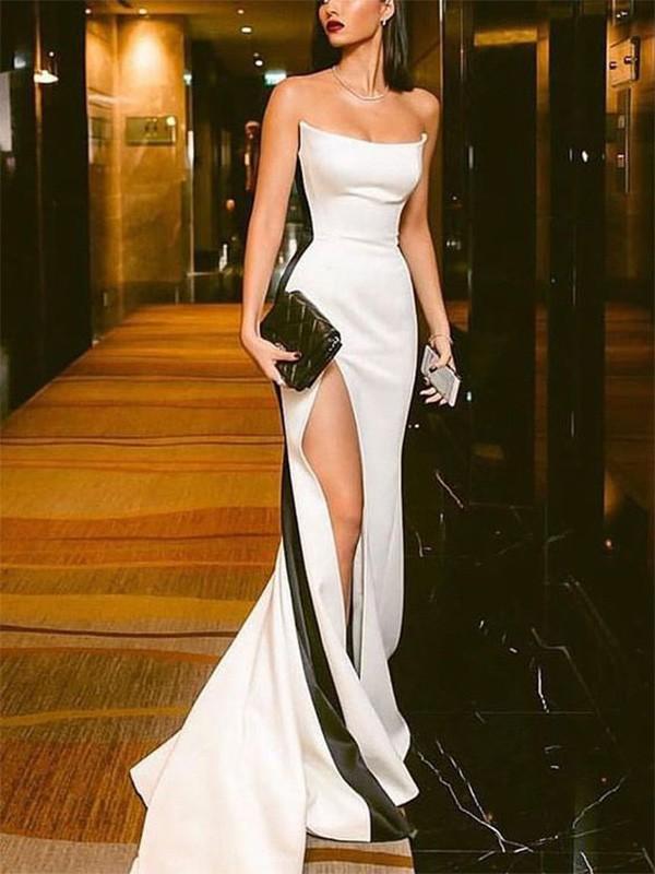 Chic Chic London Sheath Strapless Satin Long Train White Prom Dresses