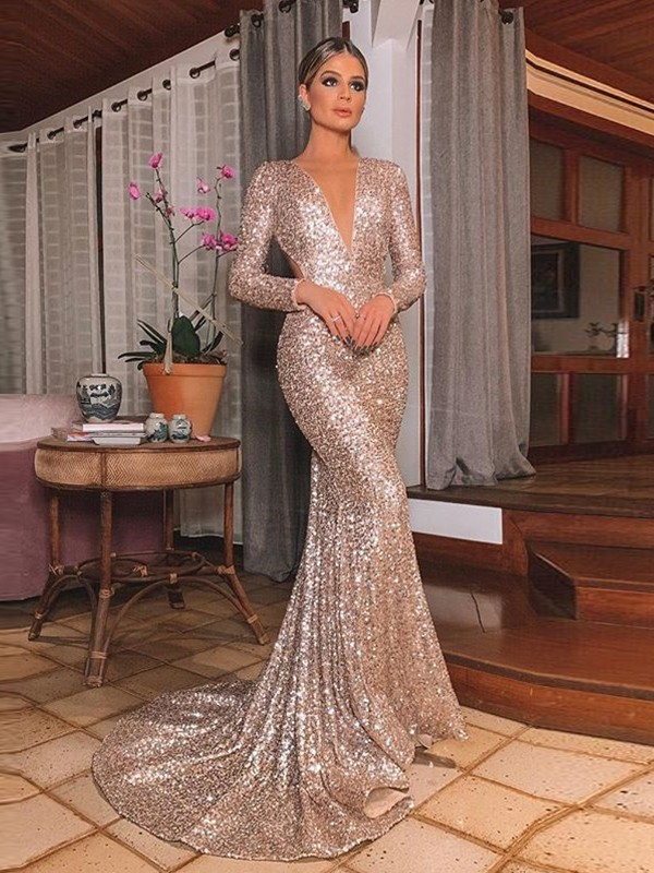 Just My Style Trumpet Sequins V-neck Long Train Ruffles Prom Dresses