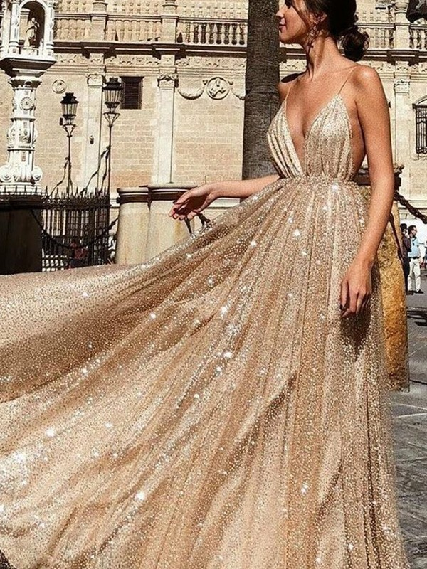 Chic Chic London A-Line/Princess V-neck Tulle Sleeveless Ruched Sweep/Brush Train Prom Dresses