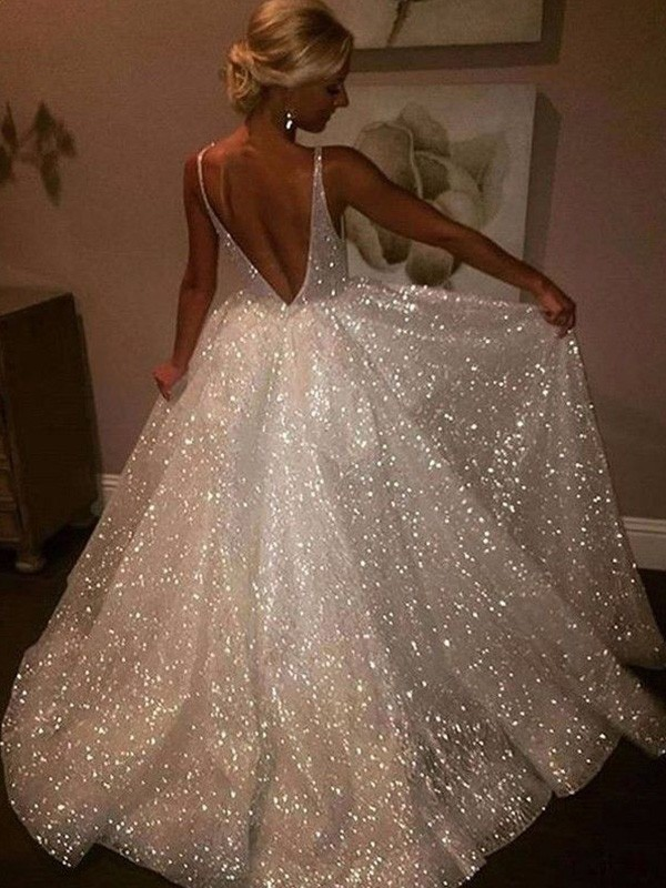 Absolute Lovely A-Line/Princess Tulle Sweep/Brush Train Sleeveless V-neck Sequin Prom Dresses