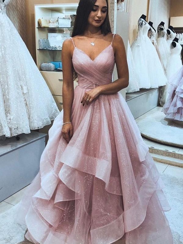 Absolute Lovely A-Line/Princess Net Spaghetti Straps Sleeveless Ruffles Floor-Length Prom Dresses