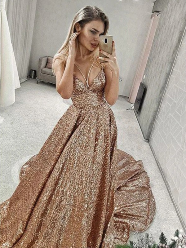 Dancing Queen A-Line/Princess Sequins Spaghetti Straps Ruffles Sleeveless Court Train Prom Dresses