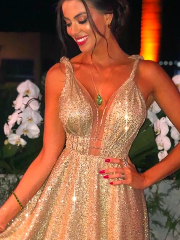 Dancing Queen A-Line/Princess Sequins Straps Beading Sleeveless Sweep/Brush Train Prom Dresses