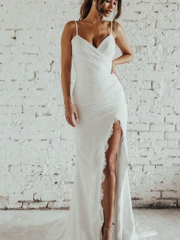 Memorable Magic Sheath/Column Spaghetti Straps Ruched Sleeveless Lace Sweep/Brush Train Wedding Dresses