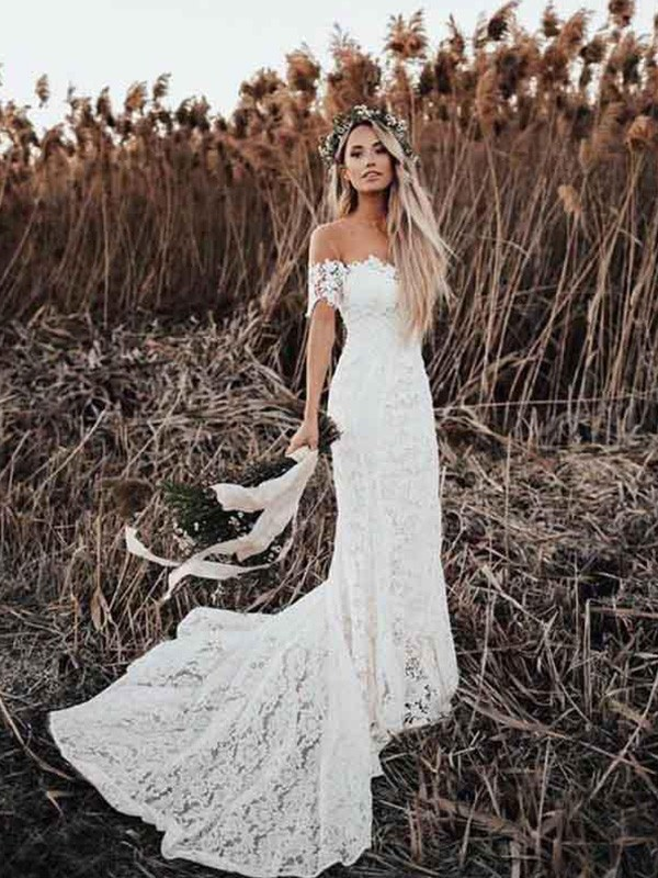 Beautiful You Trumpet/Mermaid Lace Applique Off-the-Shoulder Short Sleeves Court Train Wedding Dresses