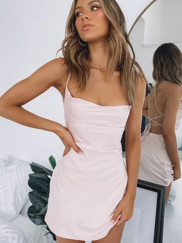 Sheath/Column Ruched Sleeveless Spaghetti Straps Satin Short/Mini Homecoming Dresses