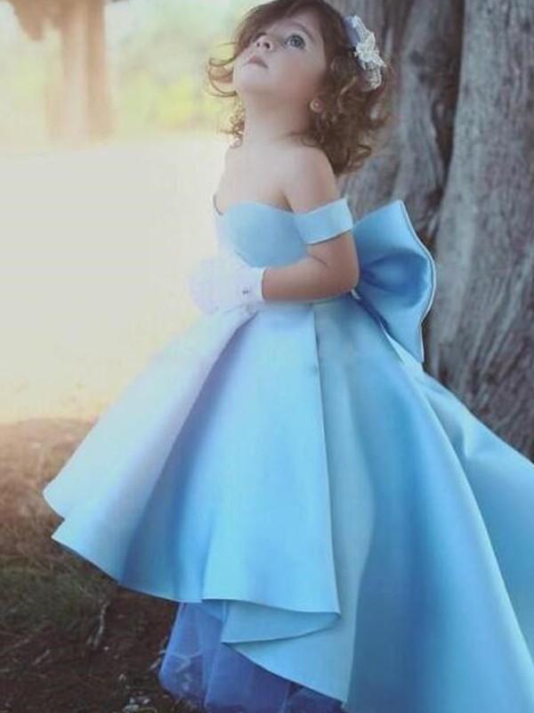 Ball Gown Off-the-Shoulder Ruffles Satin Sleeveless Asymmetrical Flower Girl Dresses