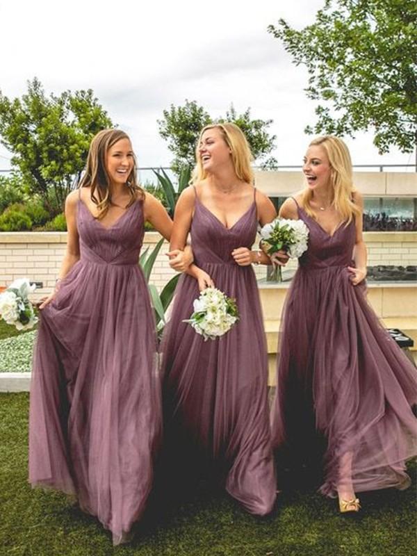 A-Line/Princess V-neck Tulle Ruffles Sleeveless Floor-Length Bridesmaid Dresses