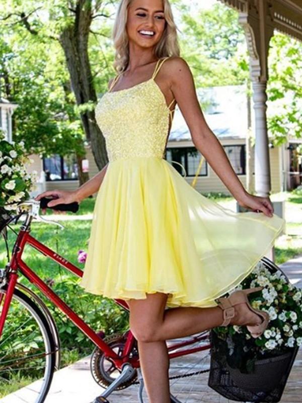 A-Line/Princess Chiffon Applique Spaghetti Straps Sleeveless Short/Mini Homecoming Dresses