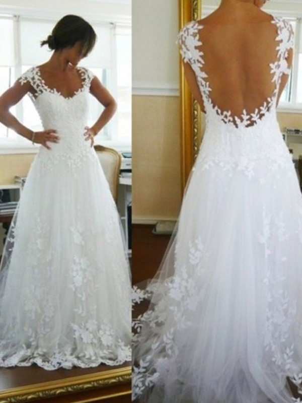 Defined Shine Princess Style V-neck Sweep/Brush Train Lace Tulle Wedding Dresses