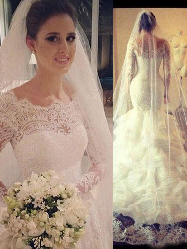 Aesthetic Honesty Mermaid Style Scoop Lace Court Train Tulle Wedding Dresses