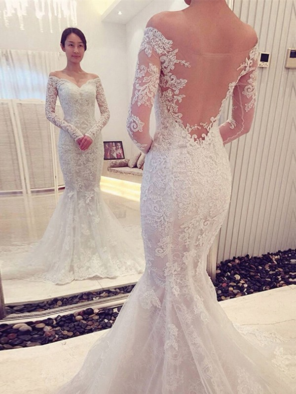 Efflorescent Dreams Mermaid Style Off-the-Shoulder Lace Sweep/Brush Train Wedding Dresses