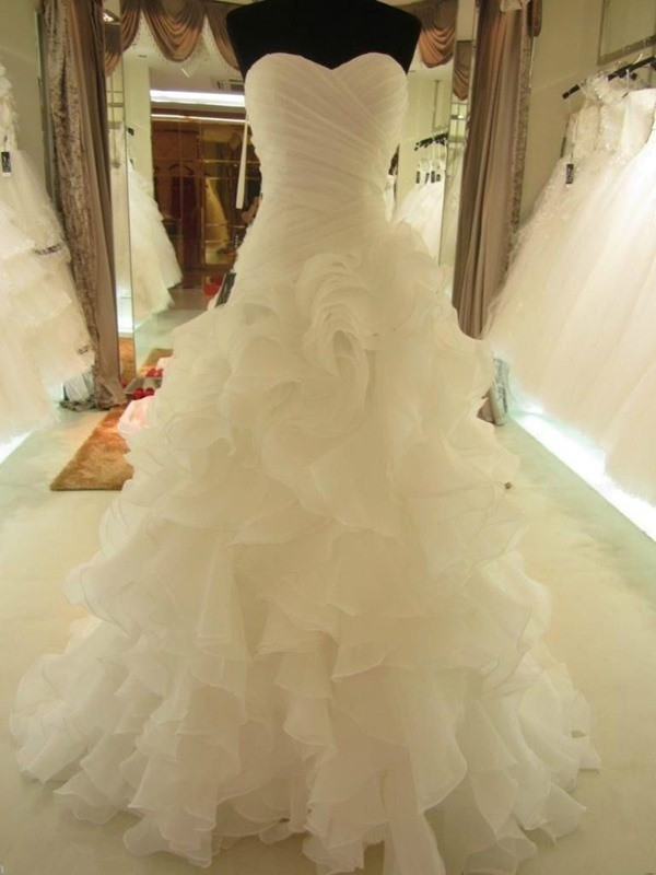 Styled to Smile Ball Gown Ruffles Sweetheart Organza Court Train Wedding Dresses