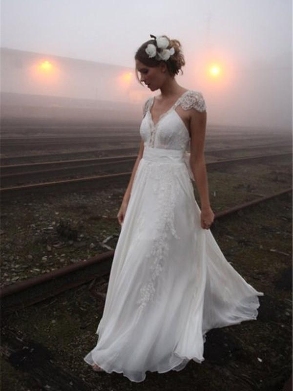 Pretty Looks Princess Style V-neck Floor-Length Lace Chiffon Wedding Dresses