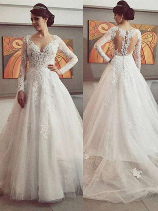 Cheerful Spirit Ball Gown V-neck Lace Court Train Tulle Wedding Dresses