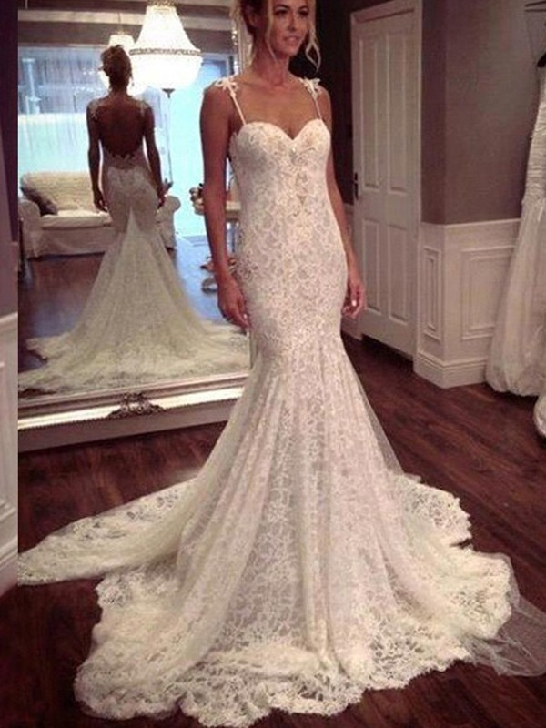 Dancing Queen Mermaid Style Court Train Spaghetti Straps Lace Wedding Dresses