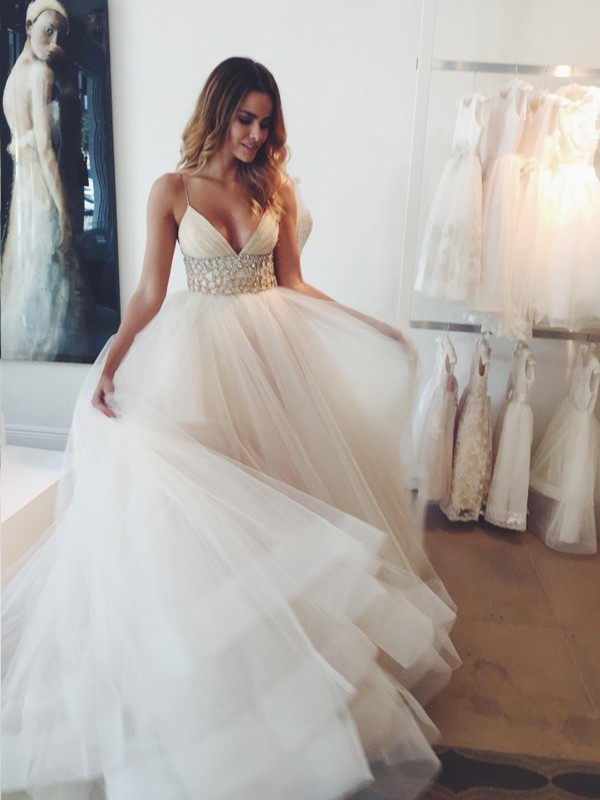 Lively Identity Ball Gown Spaghetti Straps Crystal Court Train Tulle Wedding Dresses