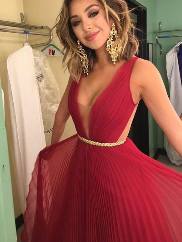 Dancing Queen Princess Style V-Neck Chiffon Sash/Ribbon/Belt Floor-Length Dresses