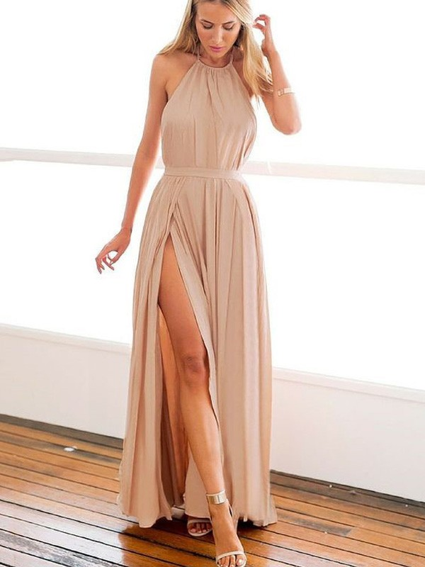 Savor the Occasion Princess Style Halter Floor-Length Chiffon Dresses