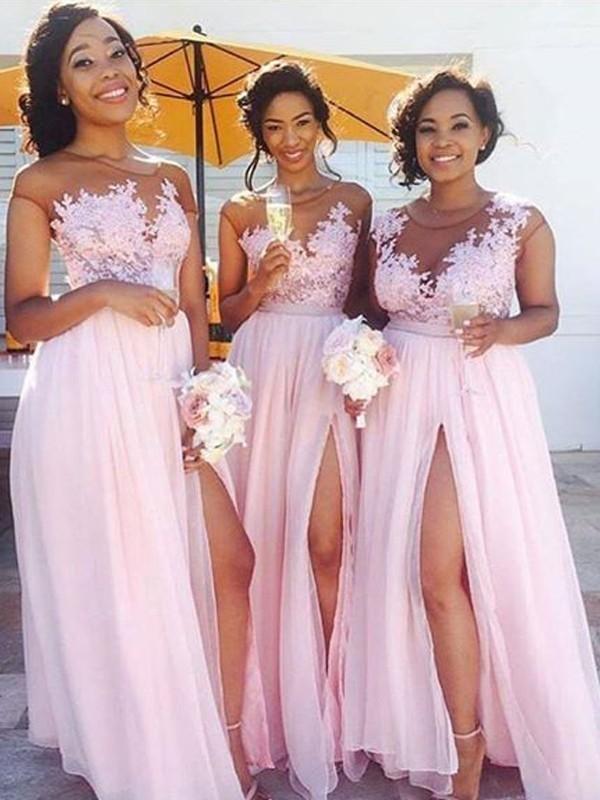 Festive Self Princess Style Scoop Floor-Length Applique Chiffon Bridesmaid Dresses