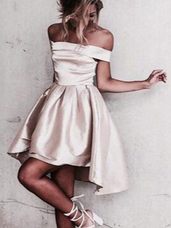 Treasured Reveries Princess Style Off-the-Shoulder Satin Short/Mini Dresses