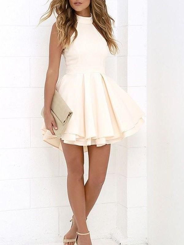 Just My Style Princess Style Halter Satin Short/Mini Dresses