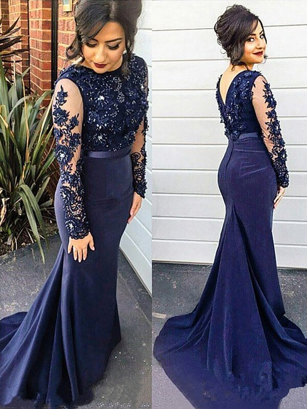 Dashing Darling Mermaid Style Lace Silk like Satin Scoop Sweep/Brush Train Plus Size Dresses