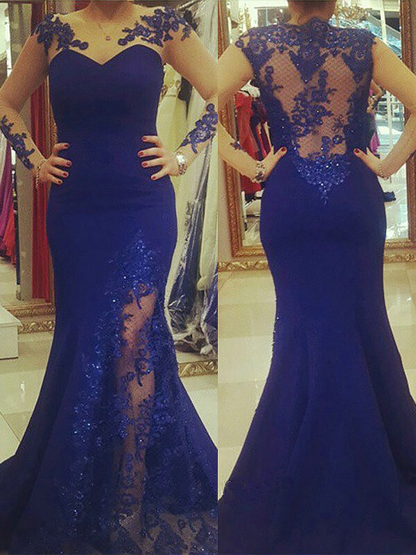 Modern Mood Mermaid Style Silk like Satin Scoop Applique Sweep/Brush Train Plus Size Dresses