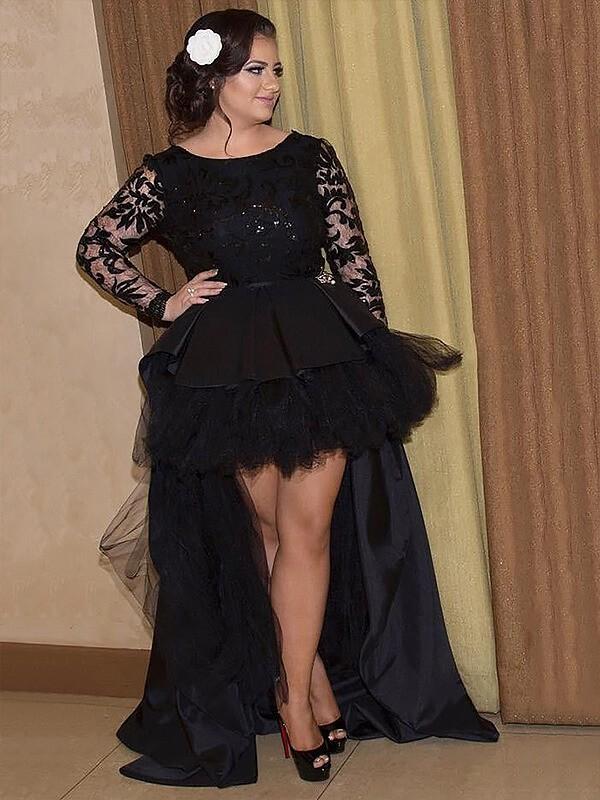 Aesthetic Honesty Princess Style Scoop Satin Applique Asymmetrical Plus Size Dresses