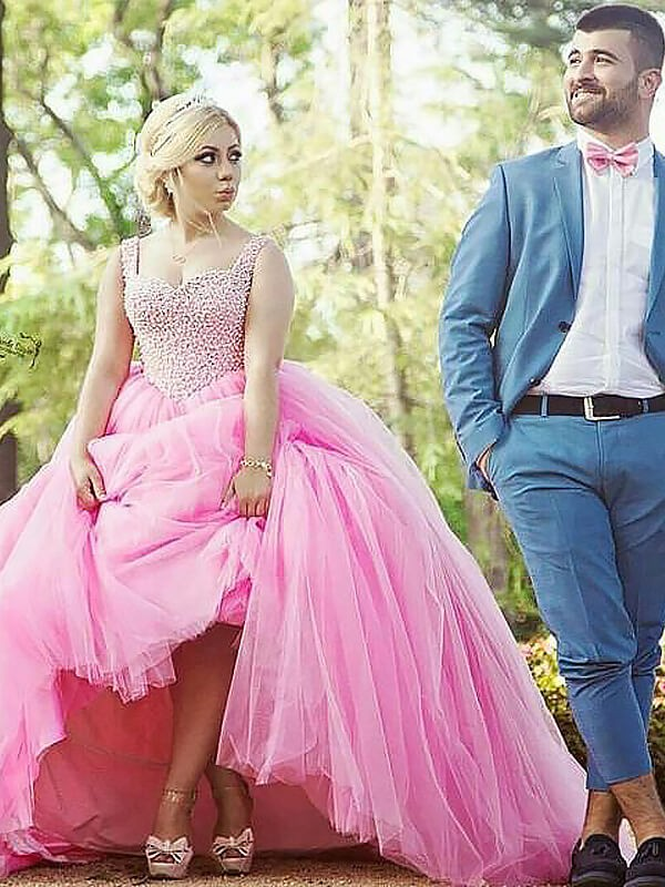 Voiced Vivacity Ball Gown Sweetheart Tulle Sweep/Brush Train Pearls Plus Size Dresses