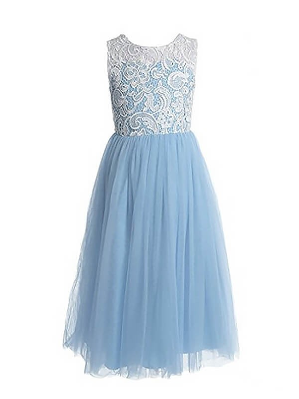 Absolute Lovely Princess Style Jewel Lace Ankle-Length Tulle Flower Girl Dresses