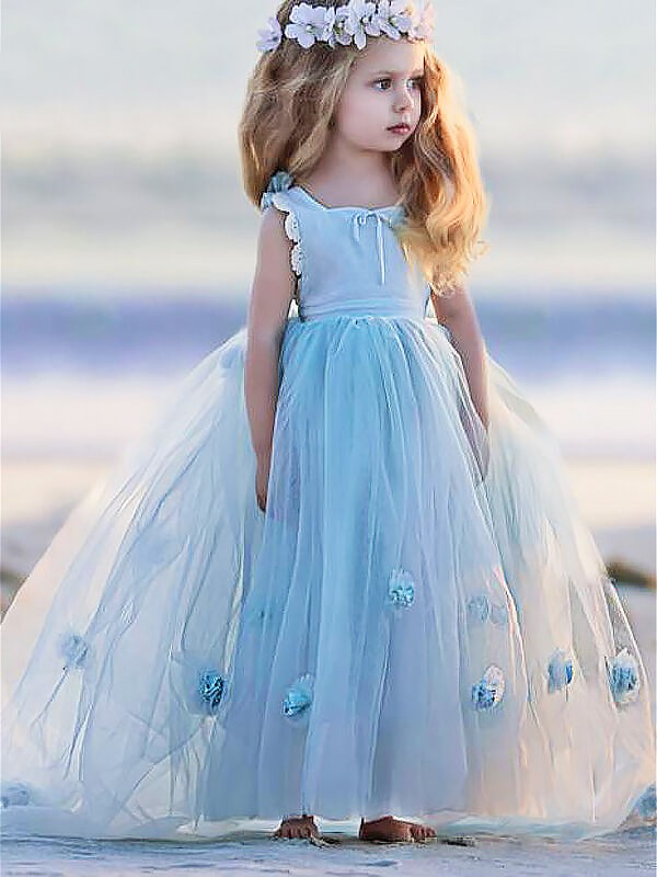 Pleasant Emphasis Ball Gown Bateau Hand-Made Flower Floor-Length Tulle Flower Girl Dresses