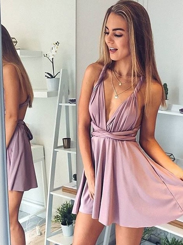 Confident Option Princess Style V-neck Short/Mini Silk like Satin Dresses