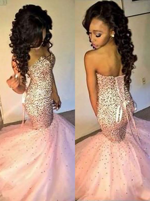 Dashing Darling Mermaid Style Sweetheart Tulle With Sequin Sweep/Brush Train Dresses