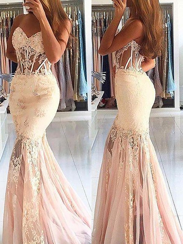 Desired Spotlight Mermaid Style Sweetheart Tulle With Lace Sweep/Brush Train Dresses