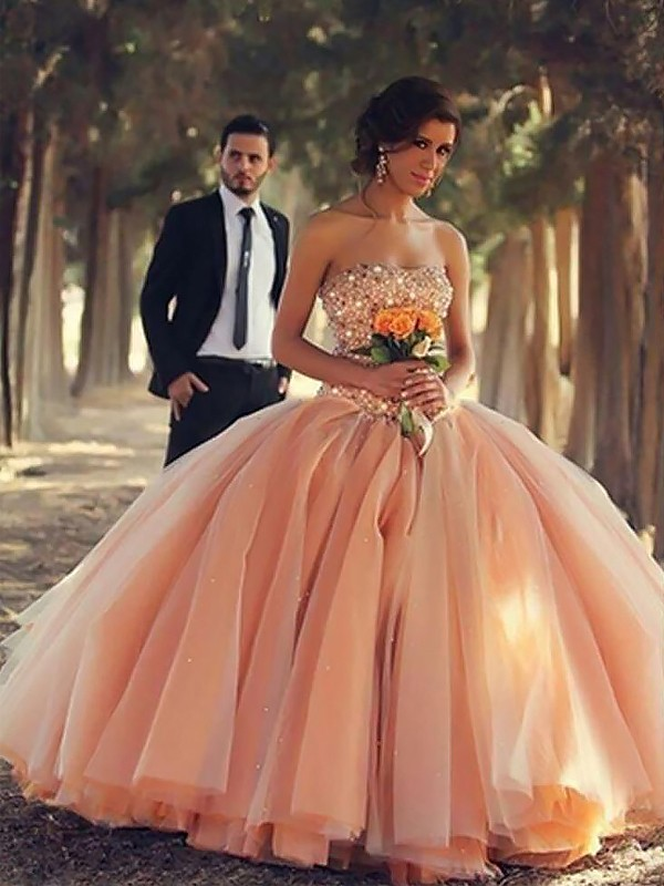 Efflorescent Dreams Ball Gown Strapless With Beading Floor-Length Tulle Dresses