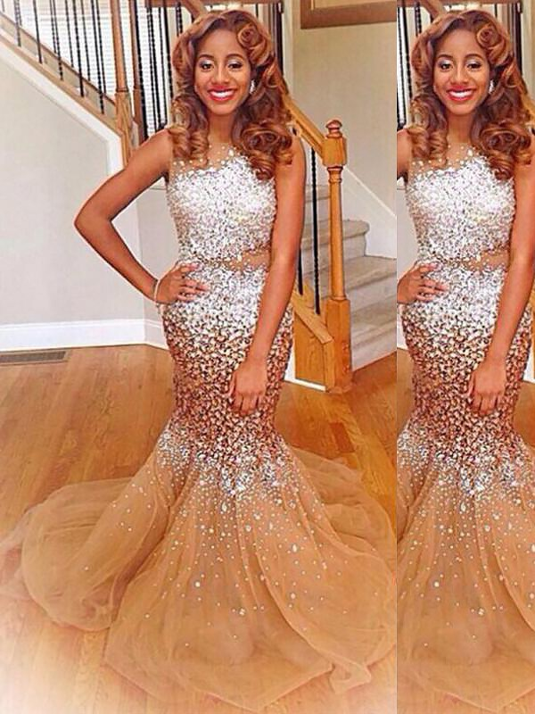 Yours Truly Mermaid Style Bateau With Sequin Sweep/Brush Train Tulle Dresses