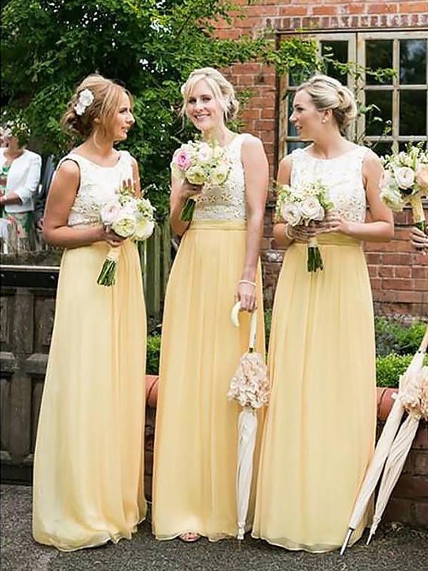 Naturally Chic Princess Style Scoop Chiffon Floor-Length Bridesmaid Dresses