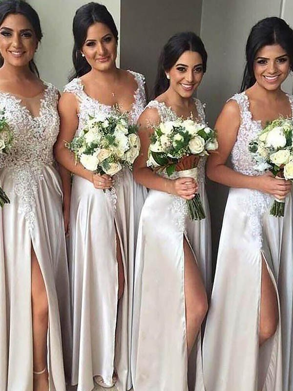 Desired Spotlight Sheath Style V-neck Silk like Satin Floor-Length Bridesmaid Dresses