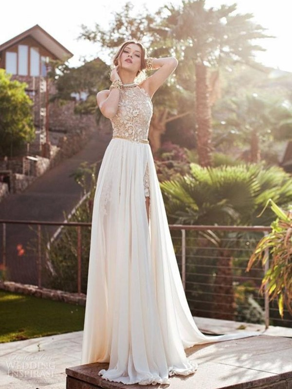 Naturally Chic Princess Style Halter Lace Chiffon Sweep/Brush Train Dresses