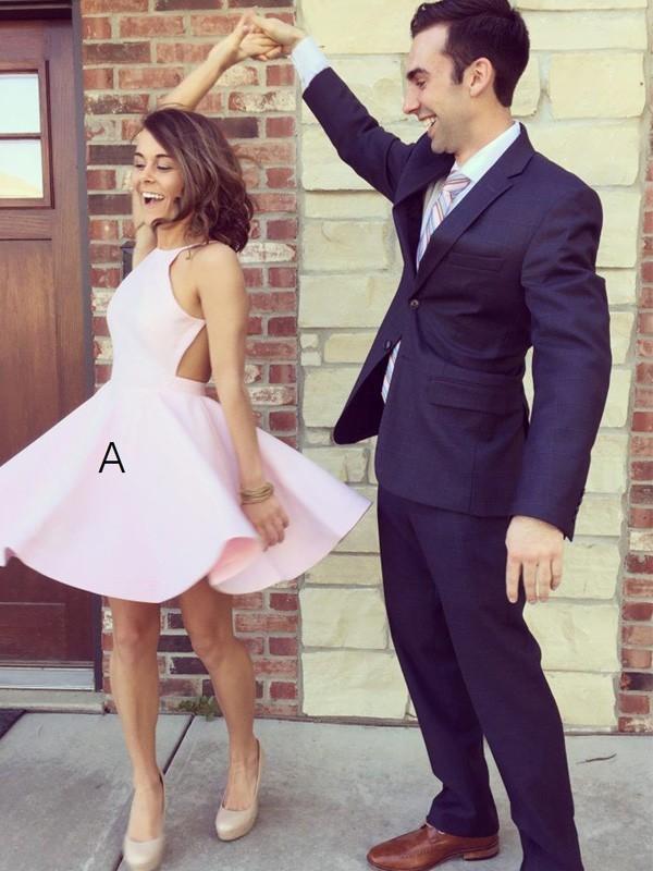 Befits Your Brilliance Princess Style Halter Short/Mini Satin Dresses