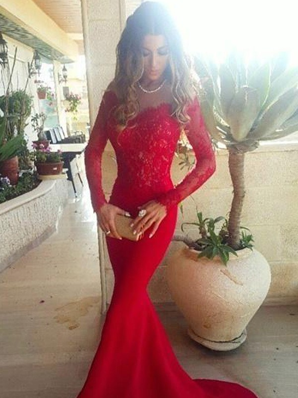 Cheerful Spirit Mermaid Style Off-the-Shoulder Lace Sweep/Brush Train Satin Dresses
