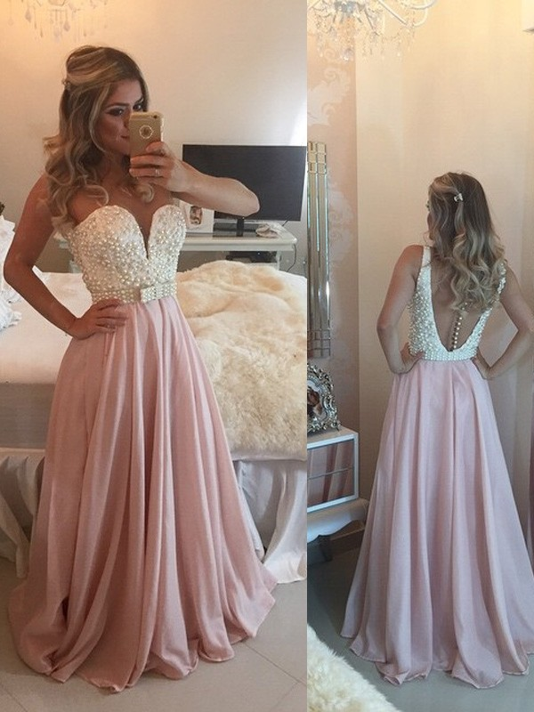 Vibrant Stylist Princess Style Sweetheart Pearls Floor-Length Chiffon Dresses