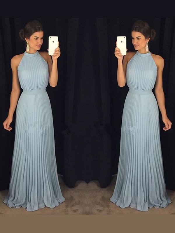 Treasured Reveries Princess Style High Neck Pleats Floor-Length Chiffon Dresses