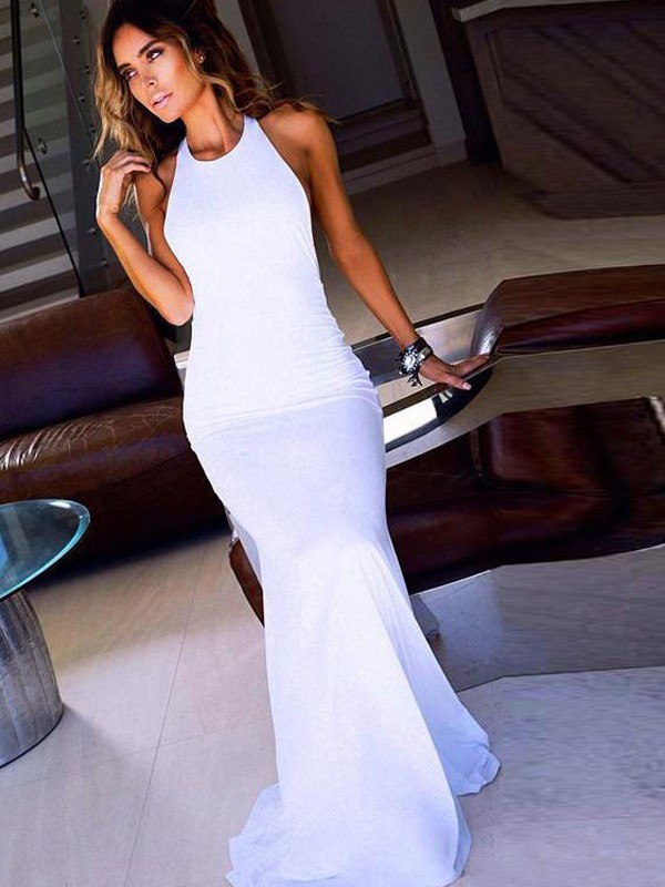 Comfortably Chic Sheath Style Scoop Sweep/Brush Train Jersey Dresses