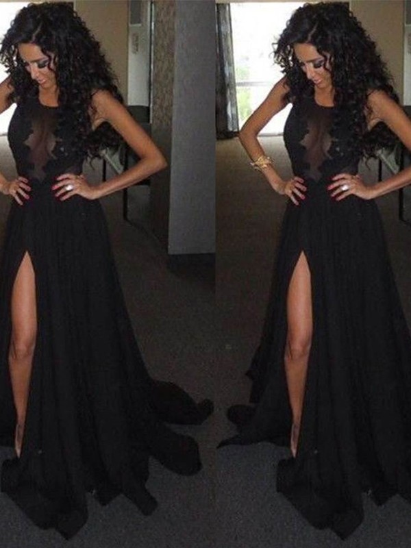 Desired Spotlight Princess Style Scoop Satin Chiffon Sweep/Brush Train Dresses